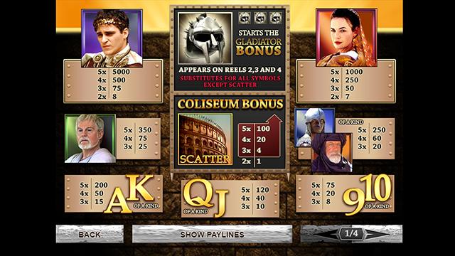 Gladiator Slot Game Paytable